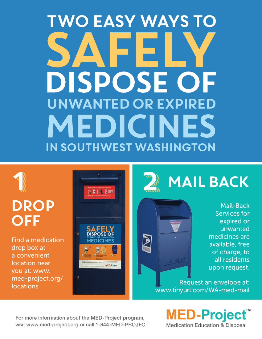 safely dispose of unwanted or expired medication. 1) drop off at drop box. visit www.med-project.org/locations. 2) mail back. Request an envelope: www.tinyurl.com/WA-med-mail.
