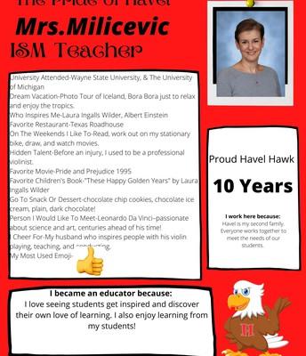 Mrs. Milicevic- ISM Teacher
