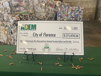 Recycling Is Rocking!  The Alabama Department of Environmental Management Presented a Check for $171,470 To Enhance Recycling!