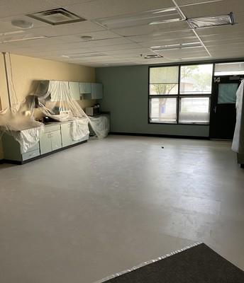 Teacher's Lounge with new tile