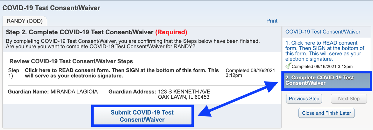 After reading consent form, click Submit COVID-19 Test Consent/Waver Button in Skyward Family Access