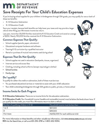 MN K-12 Tax Benefits for Families