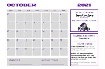 PTO Cash Calendar Fundraiser