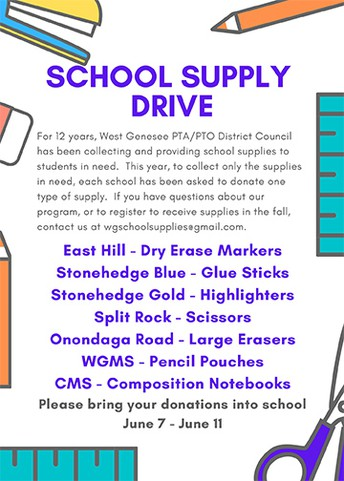 West Genesee PTA/PTO District Council is Again Sponsoring School Supply Drive