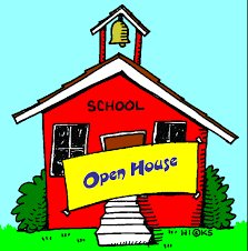red school building with open house banner