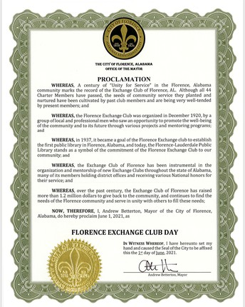 Florence Exchange Club Turns 100! 🎈🎂