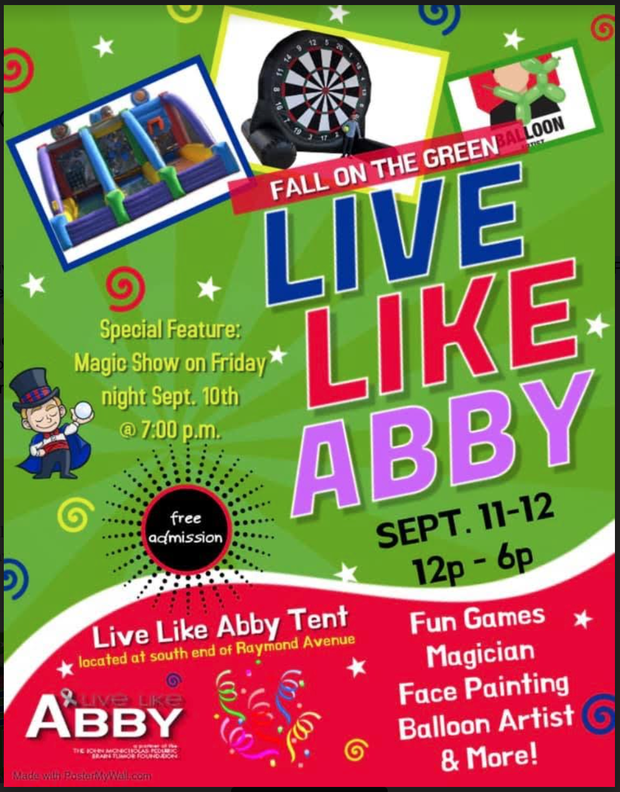 Live Like Abby Activities at Fall on the Green, September 11h & 12th Flyer