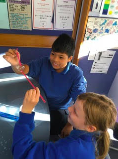 Some children worked with Mrs Harris on Tuesday. Fun with bubbles.