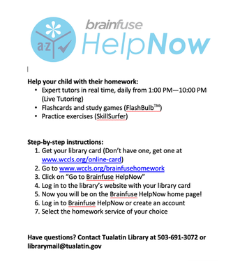 Brainfuse HELPNOW Tutoring Services