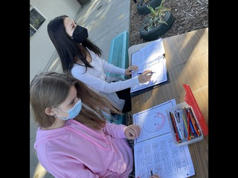 Students working on Math project outside
