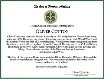Mayor Betterton had the honor of commending Oliver Cotton on his 100th birthday!