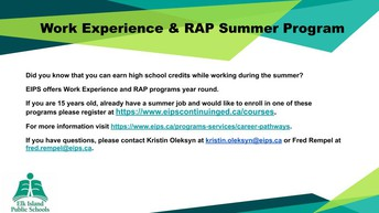 Work Experience/RAP Registration for Summer
