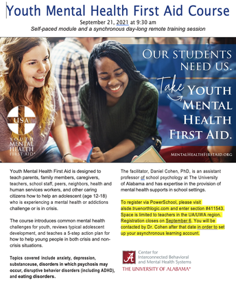 Registration Closes September 6: Youth Mental Health First Aid Training