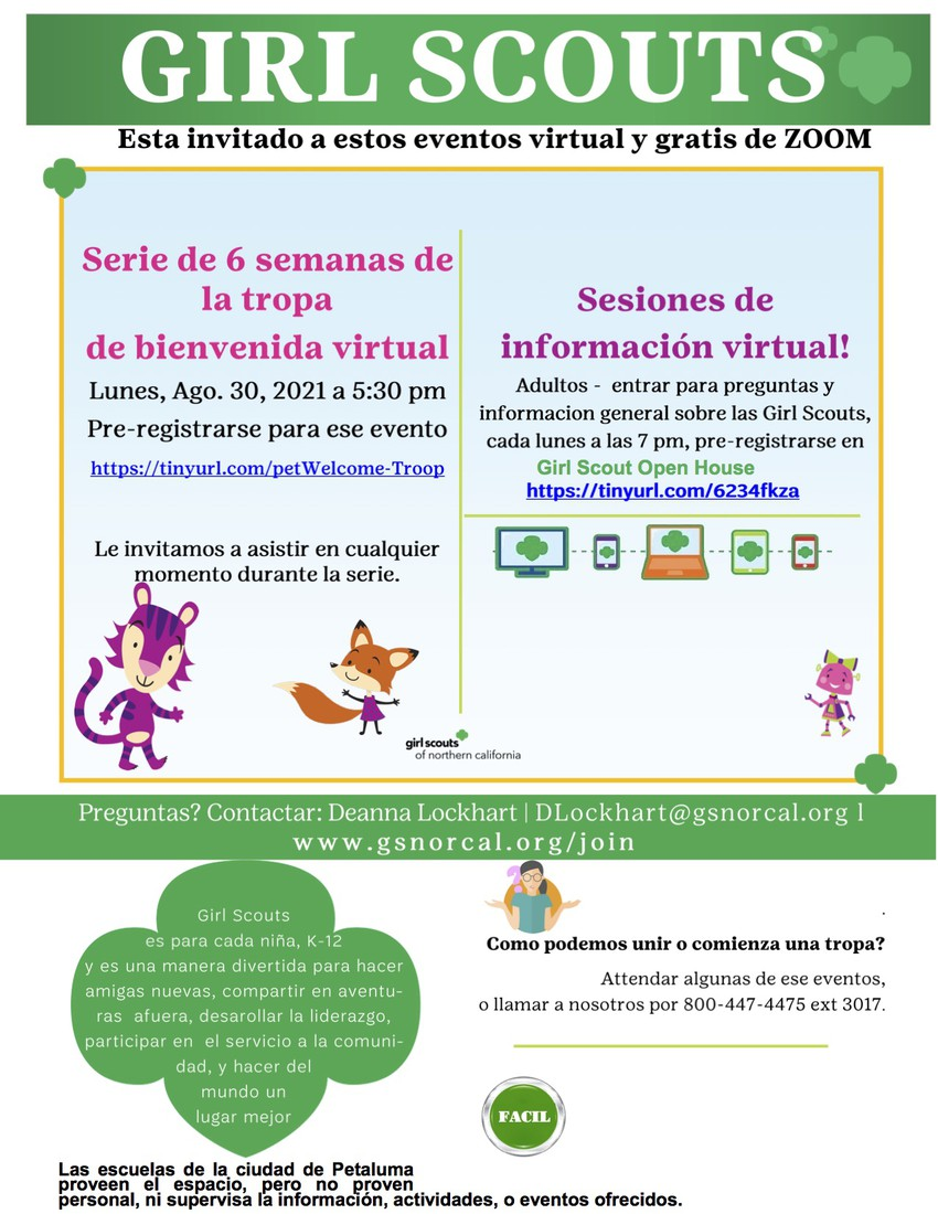 Girl Scouts Flyer in Spanish