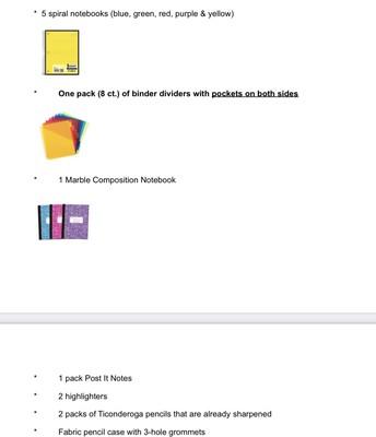 Grade 4 - Supply List