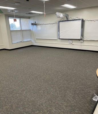 Classroom with new carpet