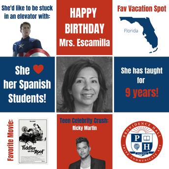 Happy Birthday Ms. Escamilla!