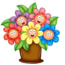 pot with multi-colored flowers with smiling faces and green leaves
