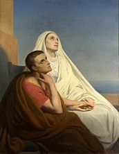 St. Monica with her son, St. Augustine.