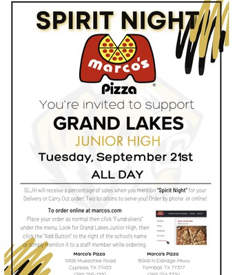 Spirit Night at Marcos Pizza