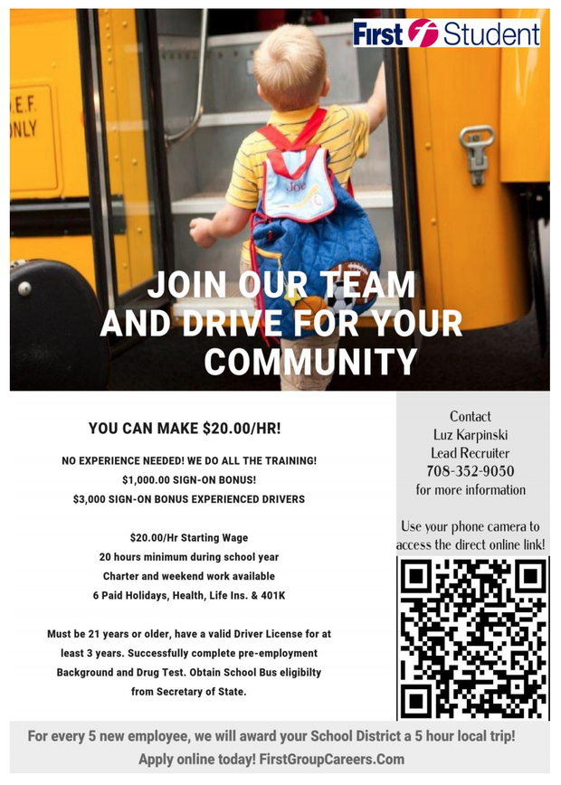 First Student Bus Driver Recruitment Flyer