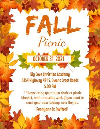 BCCA Fall Picnic, Oct 31 (Sunday), 5:00pm