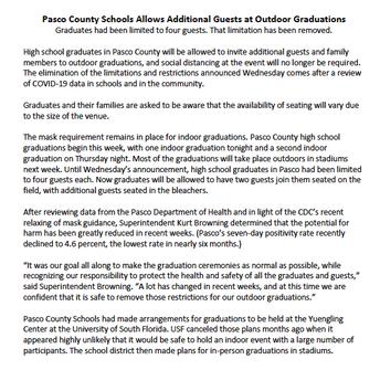 UPDATED PASCO COUNTY SCHOOLS STATEMENT REGARDING GUESTS