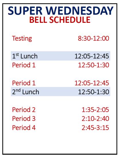 super Wednesday bell schedule