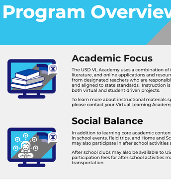 Union School District's Virtual Learning Academy for 2021-2022 Academic Year