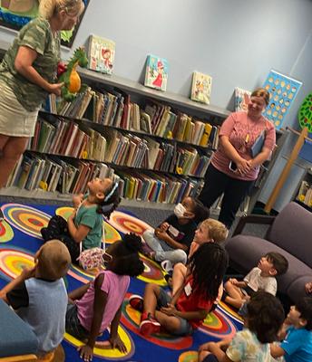 Our Kindergarten Dragons visiting the Media Center