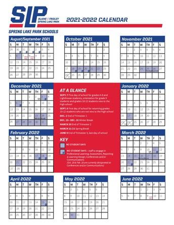 One-page 2021-2022 School Calendar