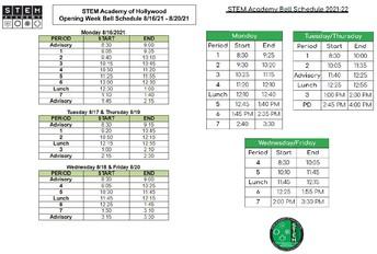 STEM Bell Schedule