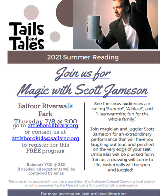 Magic night with scott jameson. Visit attleborolibrary.org for more information