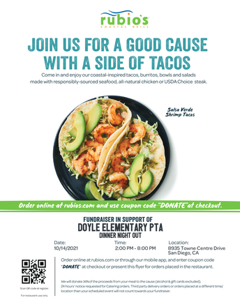 October Dine In/Take out at Rubio's on October 14th