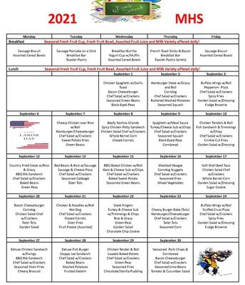 September Child Nutrition Menus