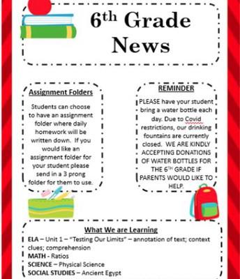 Sixth Grade Page 1