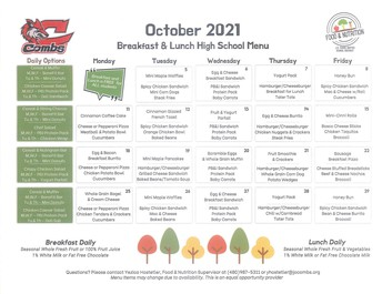 October BREAKFAST AND LUNCH MENU