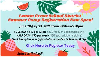 LGSD Summer Camp Registration Now Open