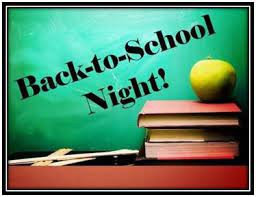 Back to School Night, Tuesday August 31