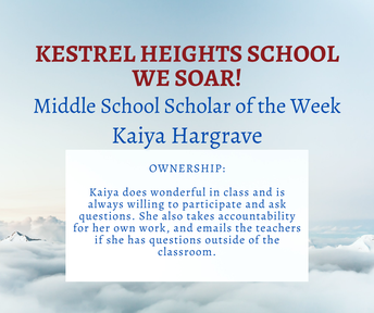 10/06 Middle School Scholar of the Week