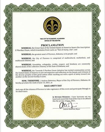 Mayor Betterton declares the week of June 13, Race Amity Day.