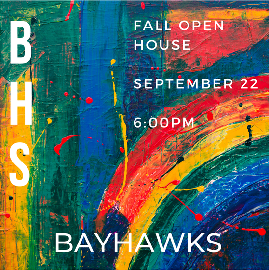 Fall Open House scheduled for September 22 at 6:00 PM