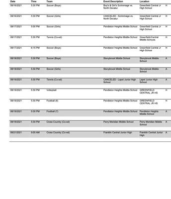 GCJHS Sports Schedule