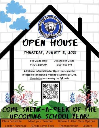 Open House is Thursday, August 5. Click on the Parent Map/Sneak-A-Peek Schedule!