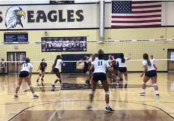Akins Volleyball Team in Action
