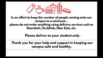 No Food Deliveries Please