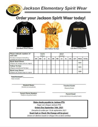 2021-2022 Jackson Spirit Wear Now Available!