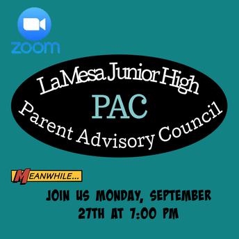 Parent Advisory Council Meeting (PAC) TOMORROW