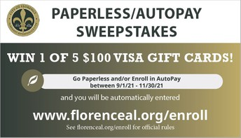 Enroll in Paperless or AutoPay Bill Options To Automatically Enter The Sweepstakes!