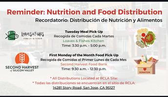 Nutrition and Food Distribution  Distribución de Nutrición y Alimentos